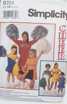 Simplicity Sewing Pattern 8701 Girl's Cheerleader by WitsEndDesign