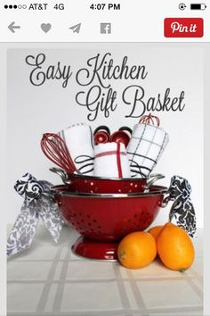find this pin and more on gift ideas - Kitchen Gift Basket Ideas