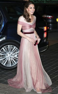 1d37a6c24 Kate Middleton stepped out looking ultra-glamorous in a pale pink and mauve  sheer paneled