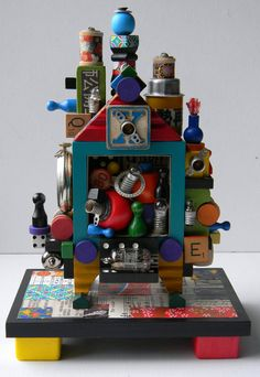 Recycled Assemblage - House of Fun - 3D Assemblage- Found Object Art by Jen Hardwick