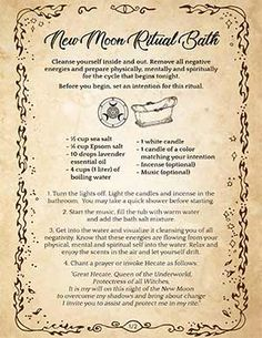 New Moon Rituals, Full Moon Ritual, Moon Spells, Wiccan Spells, Magic Spells, Witch Spell Book, Spell Books, Spiritual Bath, Witchcraft For Beginners