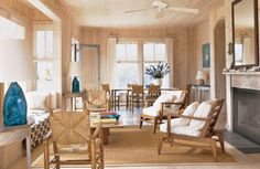 Haus am Meer von Alan Wanzenberg 3 Living Rooms, Living Room Decor, Living Spaces, Family Rooms, Style At Home, Cedar Walls, Wood Walls, Wood Paneling, Lounge