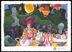 Michelle St Laurent Tea with Alice - From Alice in Wonderland Hand-Remarqued by the Artist on Hand-Deckled Pape Disney Fine Art Jackson, Godard Art, Alice In Wonderland Poster, Disney Fine Art, Disney Artists, Disney Designs, Popular Art, Animation, Magic Kingdom