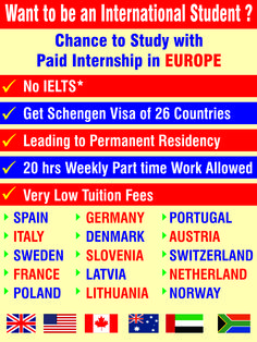 Chance to Study with Paid Internship in Europe - No IELTS - Get Schengen visa of 26 countries - Leading to Permanent Residency - 20 hrs weekly part time allowed - Very Low Tuition Fees