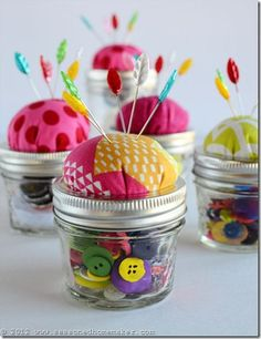 cute almost-no-sew pin cushions jars. awesome idea!!!!! so cute! want to make for christmas.