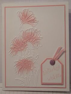 """By Glenda Mollett. Spritz white cardstock panel with Champagne Mist Shimmer Spritz. Then dry emboss panel using Stampin' Up/Sizzix """"Flower Garden"""" embossing folder. Sponge just the flowers with a dab of color leaving some of each flower white. Stems and leaves remain white. Mount on colored cardstock matching the sponged ink then on a white card base. Add sentiment."""