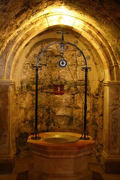 The ancient well beneath the Church of the Visitation in Ein Kerem, near Jerusalem (the place where Mary met Elizabeth)