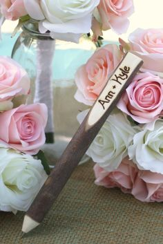 Wedding Guest Book Pen Rustic Wedding Decor Personalized (item E10322). $15.99, via Etsy.