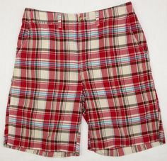 Bass Flat Front Plaid Mens Cotton Shorts Red Blue Brown 32 #Bass #CasualShorts