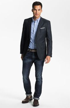 Never underestimate the power of a great fit. A simple blazer and jeans will always look great if the fit is right. BOSS Black Trim Fit Blazer, Wallin & Bros. Sport Shirt & DIESEL® Slim Skinny Leg Jeans | Nordstrom