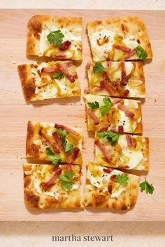 When ham and cheese get together, it's always very tasty. In this recipe, it stars in a riff on tarte flambée, a pizza-like specialty of the French region of Alsace. Keeping it easy, we use a store-bought flatbread for our Ham-and-Cheese Flatbread and top it with plenty of sautéed onions. #marthastewart #recipes #recipeideas #easterfood #easterrecipes #eastertreats #easterideas Yummy Pasta Recipes, Pork Recipes, Cooking Recipes, Breakfast Lunch Dinner, Dessert For Dinner, Onion Tart, Sliced Ham, Leftover Ham