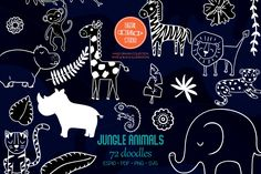 Animal Doodles, Jungle Animals, Vector Graphics, Animal Drawings, Design Bundles, How To Draw Hands, Tropical, Clip Art