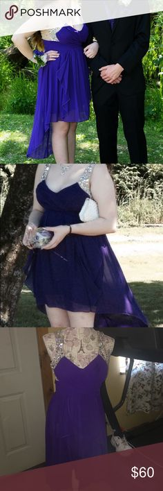 Stunning purple high low prom/home coming dress 💗 This dress is beautiful! It was worn once, no stains no tears no smells. It's in perfect condition. Missing no stones or anything. It's lined on the inside to go braless. A beautiful shade of purple that's a show stopper. It's a 9 but can fit a size up as well. Not Sherri hill just used for publicity but is the same quality as. 💓 all offers considered 💓 Sherri Hill Dresses Prom
