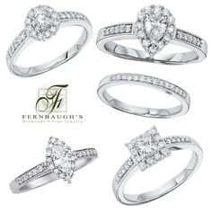 14k white gold wedding set your choice round, pear, marquise or princess cut 1/3 ct center diamond 3/4 total weight with matching band (4A-E)