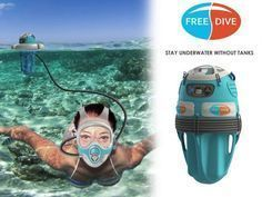 There's a gap in equipment between SCUBA diving and snorkelling. Freedive bridges that gap. With Freedive people can dive to six meters and stay there for over an hour without surfacing. No need for cumbersome SCUBA gear, special training, or to be tethered to a boat. A person using Freedive just carries one bucket-sized unit into the water; uncoils and attaches the hose to the full-face mask, puts on the mask, turns on the compressor and jumps in. The compressor unit floats on the surface,
