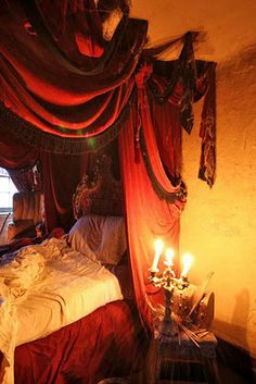"""Be still my Gypsy soul ... and thanks to Roan Gavin http://pinterest.com/roangavin/ for sharing this decadent, bohaemian bedscape with me from his travels.  (Come on ... admit it.  What girl doesn't want an exotic tent to live vicariously in?)   One of a handful of red riots splashed across Barbara's """"Gypsy House Designs"""" blog.  -- Eve. #Gypsy #Bohemian"""