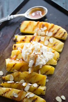 The simplest desserts are the best! This no-bake grilled dessert recipe features juicy grilled pineapple, mascarpone whipped cream, and a sweet and gooey caramel drizzle. This easy and delicious summertime treat is full of flavor and zest.