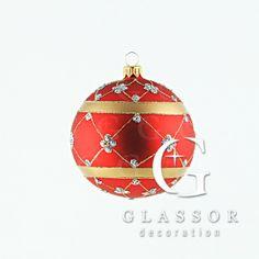 Koule červená se zlatým dekorem, 10 cm   Glassor.cz