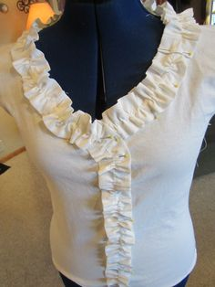 DIY ruffle t shirt and various other upcycled thrift store finds in this blog.  Easy to understand instructions.