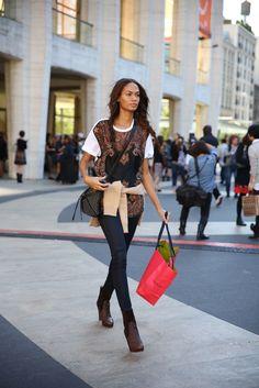 .      New York Fashion Week SS 2013 street style: Joan Smalls