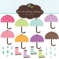umbrella/April Showers clipart pack