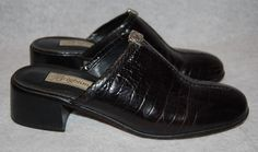 Brighton Womens 9.5 M 9 1/2 FAITH Shoes Mules Slides Black Leather Crocodile #Brighton #PumpsClassics #WeartoWork