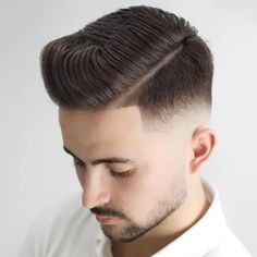 The 30 Different Types of Fades: A Style Guide - Men Hairstyles World Mens Hairstyles Round Face, Popular Mens Hairstyles, Cool Hairstyles For Men, Undercut Hairstyles, Retro Hairstyles, Medium Hairstyles, Wedding Hairstyles, Skin Fade Pompadour, Pompadour Fade Haircut
