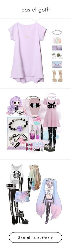 """pastel goth"" by defective-boy ❤ liked on Polyvore featuring Jeffrey Campbell, Rebecca Minkoff, Kendra Scott, Wet Seal, AX Paris, Lime Crime, NYX, T.U.K., Kreepsville 666 and Grandin Road"