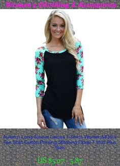 Autumn Long Sleeve Ladies T-Shirts Women's Tee Shirt Cotton Printing Stitching Floral T shirt Plus Size