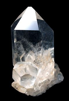 RHQTZ-67 - Quartz - $ 900  Hot Springs, Arkansas, USA  small cabinet, 7.9 x 6.0 x 4.3 cm   ex.  Richard Hauck  American quartz - A supremely good example of the most common type we see, so good that i was shocked when i saw it and didn't think it could be pristine as well. But, except for a small crysatl contact in the lower rear, it IS pristine and I woul dhave to rank this among the absolute finest Arkansas quartzes for its size that I have seen. The edges are RAZOR RAZOR sharp!