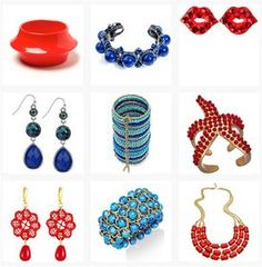 Red and blue jewellery pieces. See more http://www.topfloor.com/mydesigns4you/1747 #jewellery #jewelry #ring #bracelet #fashion #mydesigns4you #topfloor #style #trend #stylehaul #necklace #earrings #statement #gem