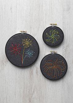 Embroidery patterns: firework hoop art - Mollie Makes Embroidery Patterns Free, Embroidery Hoop Art, Cross Stitch Embroidery, Cross Stitch Patterns, Embroidery Designs, Pdf Patterns, Mollie Makes, Fireworks Design, Bonfire Night