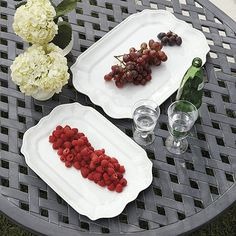 Catania Melamine Rectangular Serving Platters - Set of 2