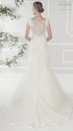 #Ellis2015 Style 11417 Back Shot 'Fine Lace Fluted Dress with Soft Drape Neckline and Exquisite Crystal Beaded Detailing'