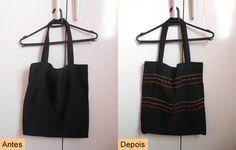 DIY embroidered ecobag  See here: http://customizando.net/como-customizar-ecobag-com-maquina-de-bordado/