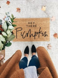 This hello there pumpkin doormat is the perfect way to have an inviting entry way to your home! Each welcome mat is hand painted and hand lettered. Coir doormats are made of 100% natural coir and are great for preventing dirt and mud from tracking inside your home. Doormats are