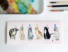 Greeting Card: Lots of Party Cats by StripedCatStudio on Etsy