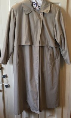 Carol Cohen Drizzle Size 10 VINTAGE FAUX FUR LINED WINTER TRENCH OVER COAT TAN  #Drizzle #Trench #Casual