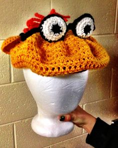 SCOOTER Muppet Newsboy Cap Flat Cap Golf Cap by KnottyKatieKrochet, $29.99