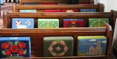needlepoint kneelers...Parish of Monkwearmouth, Sunderland in the Diocese of Durham.