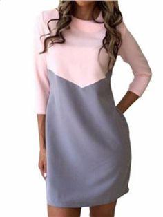 986dae19044 Robe de Jour Droite Bicolore Colorblock Dress