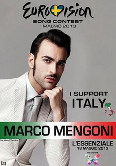 I support Marco Mengoni at ESC 2013, with L'essenziale   http://www.youtube.com/playlist?list=PLyrz5ihxl752jYea7LaWMKmqg7n93cEfC