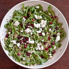 Quinoa Salad      2 cups arugula (my fav) chopped  1/2 cup cooked quinoa (Here is how you cook Quinoa the RIGHT way don't cook it like rice or it will be mushy)    2 tbs pine nuts (toasted is yummy)    1/2 an avocado, chopped    1 oz goat cheese    1/4 cup Pomegranate seeds    2 tsp Balsamic vinegar    Toss it all in a bowl, makes about 2 servings.