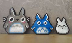 Totoro and his little friends by RavenTezea.deviantart.com on @deviantART   just love that movie :meow:  The grey one from the pattern that is all over the internet, I remade the the blue from greys pattern and did the white one on my own.  I don't mind if anyone else want to do these, but please credit me. :aww:  Made with NABBI perler beads