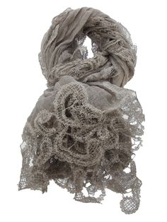 Accessories - Faliero Sarti Embroidered Scarf - Beige cotton blend scarf from Faliero Sarti featuring an intricate embroidered crochet border detail - Dolci Trame