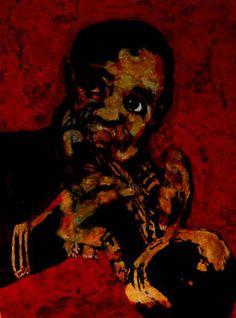 "Saatchi Art Artist CARMEN LUNA; Painting, ""66-Expressions of Carmen Luna. Louis Amrstrong."" #art http://www.saatchiart.com/art-collection/Painting-Mixed-Media/Expressions-of-Carmen-Luna/71968/25377/view"