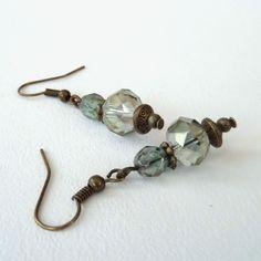 Green crystal & bronze earrings, vintage style £6.00