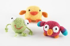 Mini Amigurumi Frog, Parrot, And Duck, using Lion Brand's new packages of Bonbon yarn! I can't WAIT to try these!