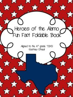 This is a fun little book your students can make to study the People of the Alamo.  There are facts included that you can sort onto the pages.  Enjoy and please leave feedback!   4th Grade TEKS - 4.(3)  History. The student understands the importance of the Texas Revolution, the Republic of Texas, and the annexation of Texas to the United States. The student is expected to: ...