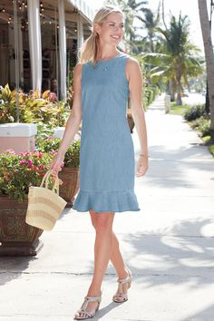 """""""Shop Chadwicks of Boston for our Flounce Hem Denim Dress. Browse our online catalog for more classic clothing, shoes and accessories to finish your look. Modest Dresses, Simple Dresses, Casual Dresses For Women, Womens Denim Dress, Chambray Dress, Women's Fashion Dresses, 50 Fashion, Fashion Styles, Classic Outfits"""